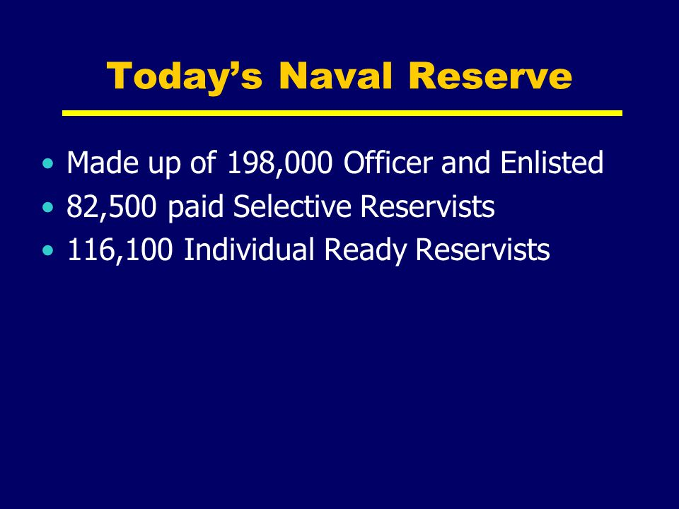 Today's Naval Reserve Made up of 198,000 Officer and Enlisted