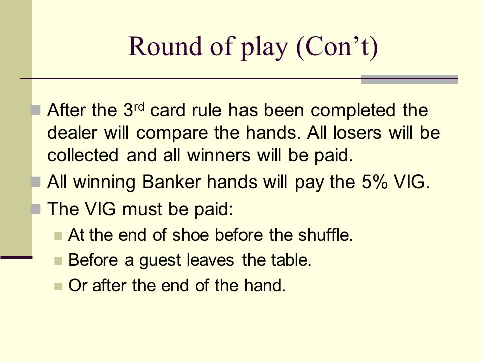 Round of play (Con't)
