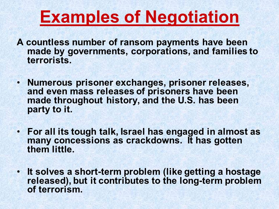 Examples of Negotiation
