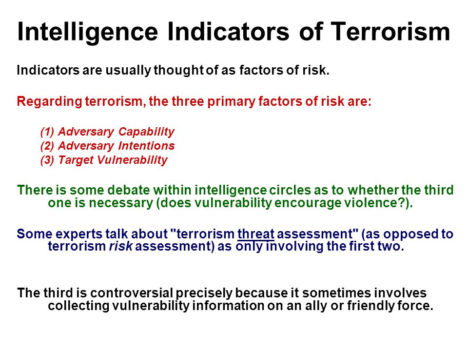 Intelligence Indicators of Terrorism