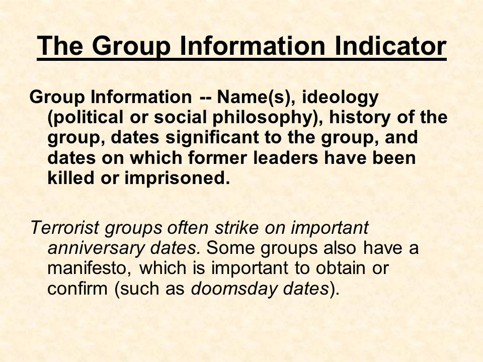 The Group Information Indicator
