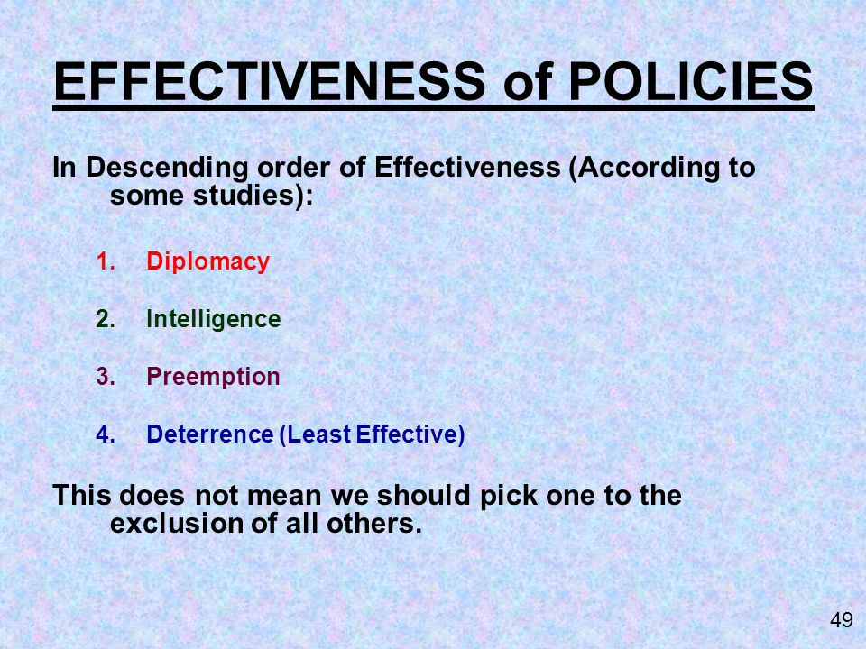 EFFECTIVENESS of POLICIES
