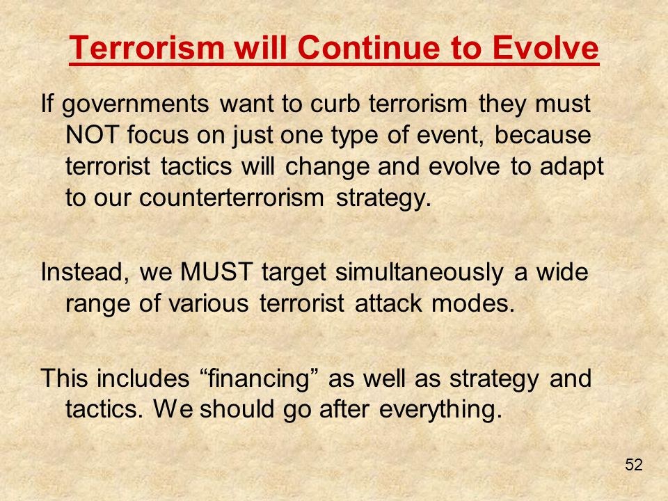 Terrorism will Continue to Evolve