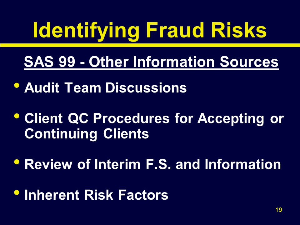 Identifying Fraud Risks