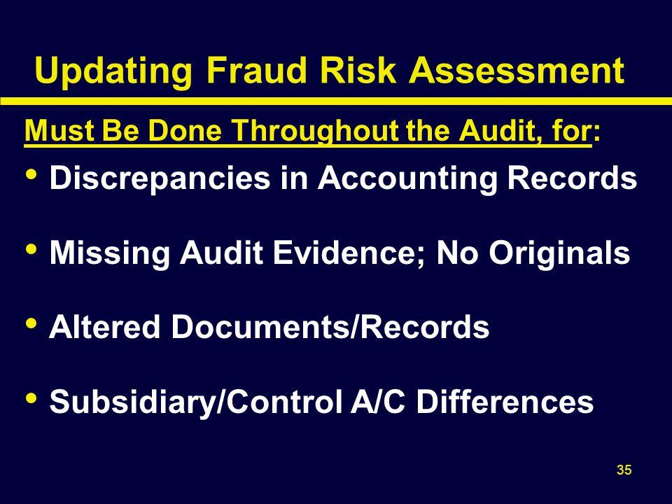 Updating Fraud Risk Assessment