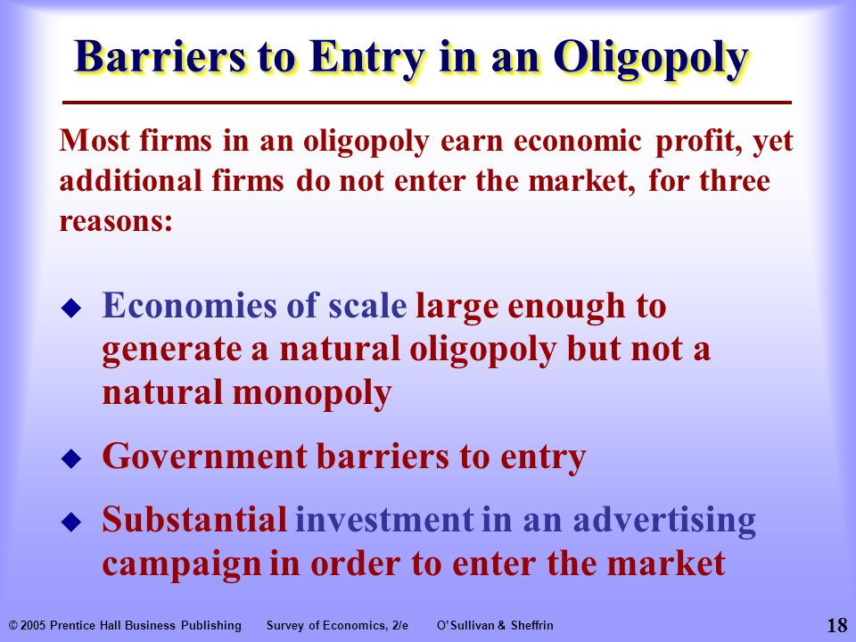 Barriers to Entry in an Oligopoly