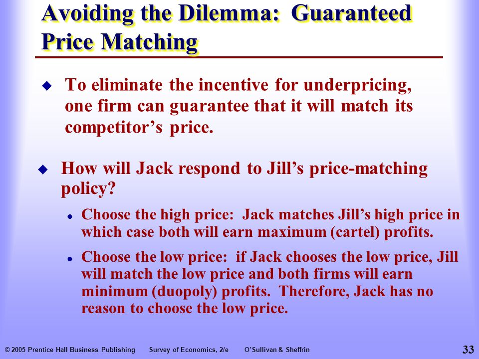 Avoiding the Dilemma: Guaranteed Price Matching