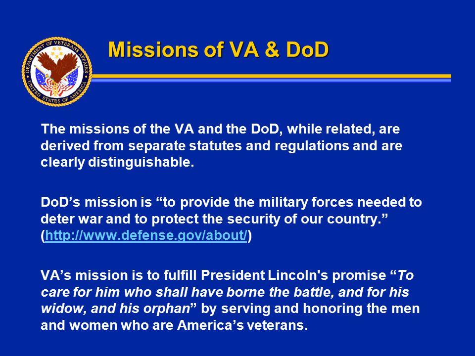 Missions of VA & DoD