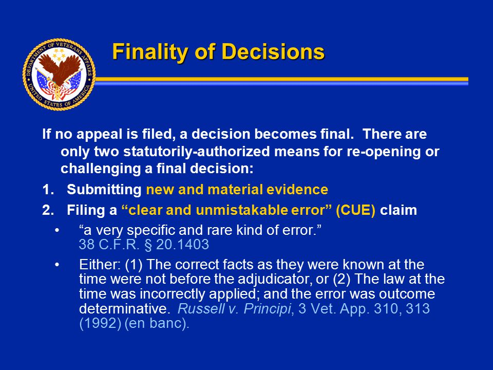 Finality of Decisions