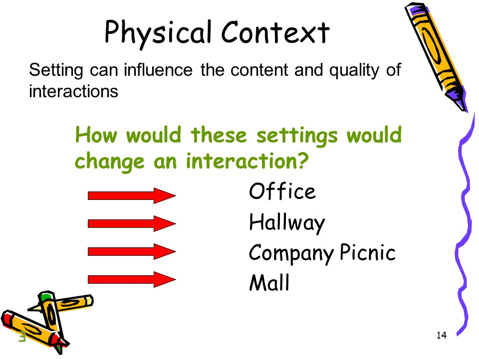 Physical Context How would these settings would change an interaction