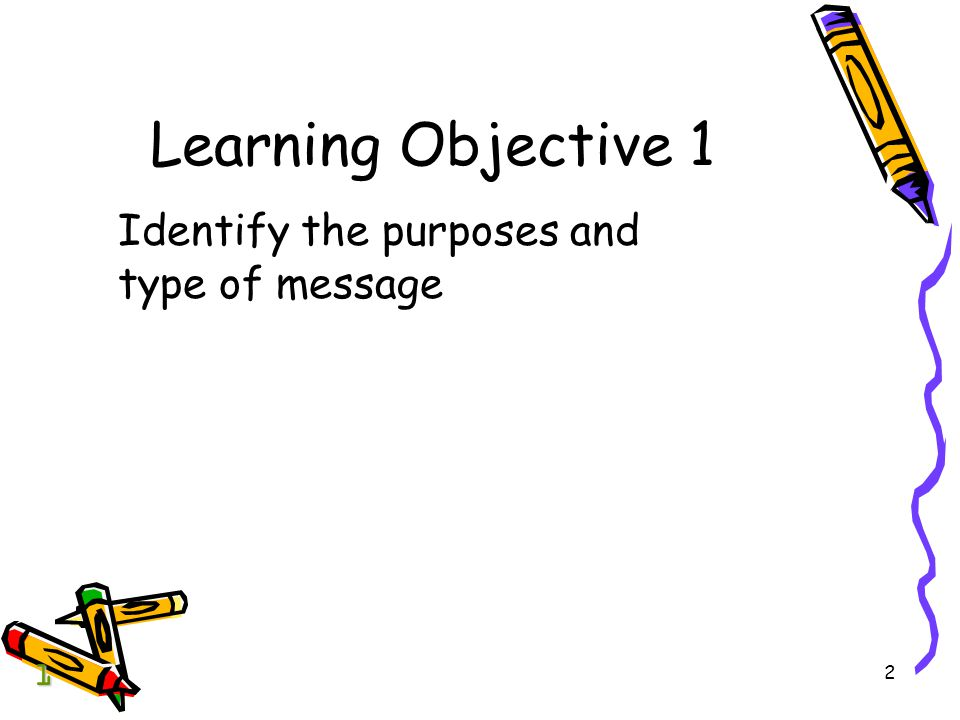 Learning Objective 1 Identify the purposes and type of message 1