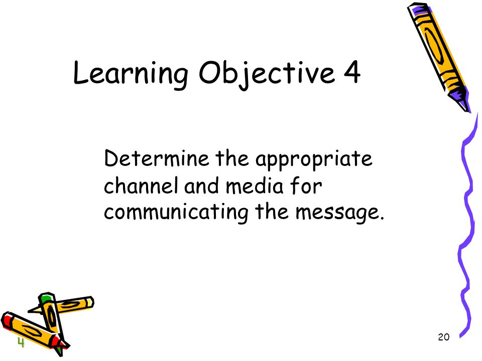 BCOM Chapter 04 Learning Objective 4. Determine the appropriate channel and media for communicating the message.