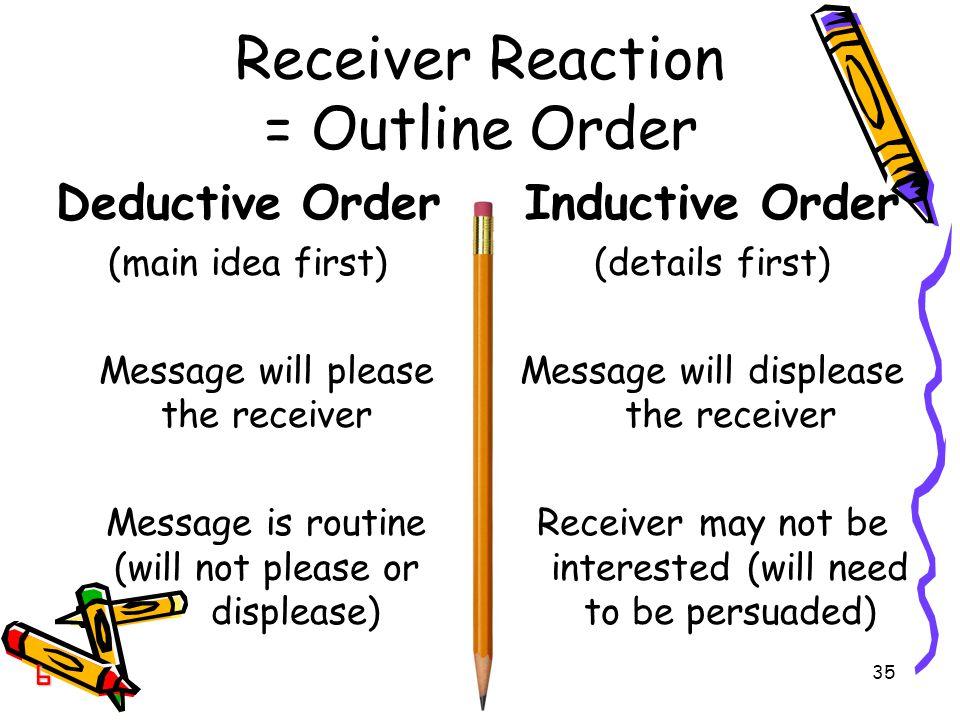 Receiver Reaction = Outline Order