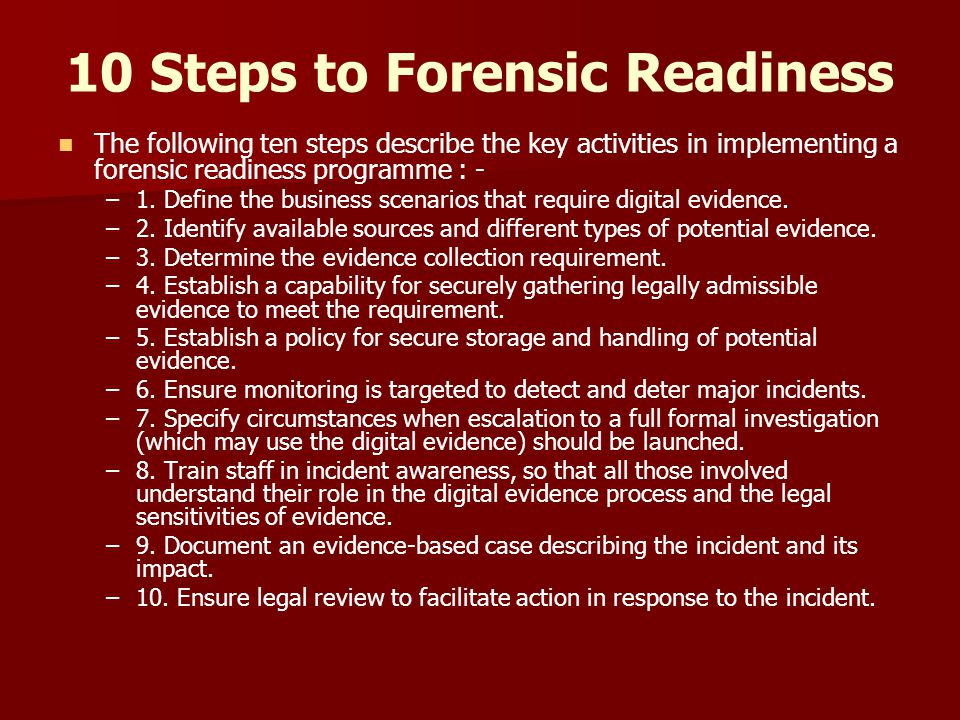 10 Steps to Forensic Readiness