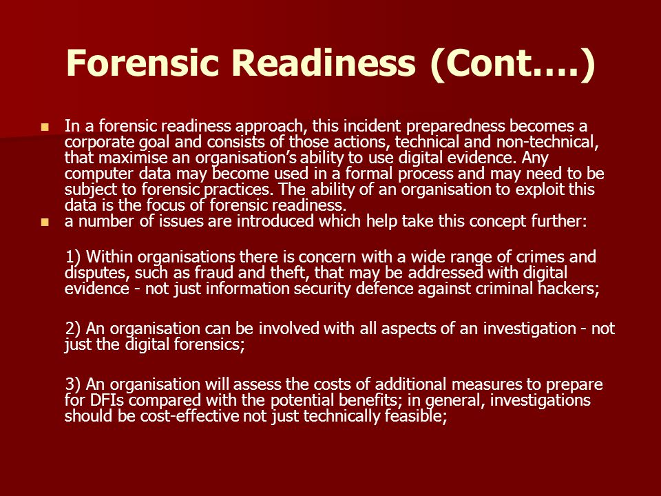 Forensic Readiness (Cont….)