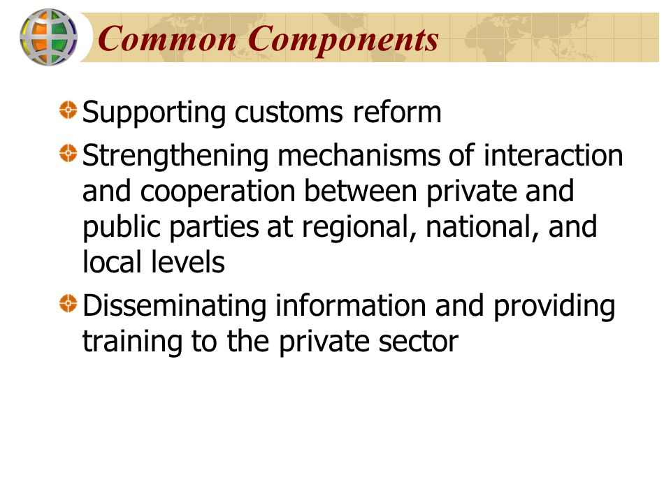 Common Components Supporting customs reform