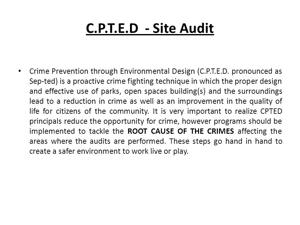 C.P.T.E.D - Site Audit