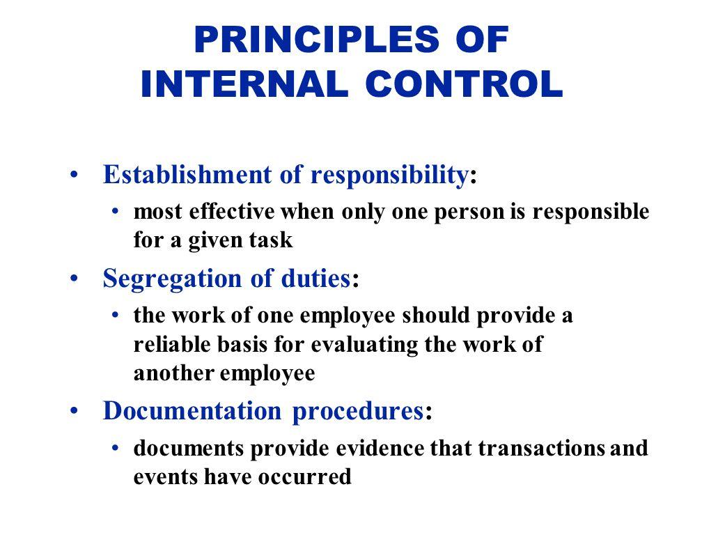 PRINCIPLES OF INTERNAL CONTROL