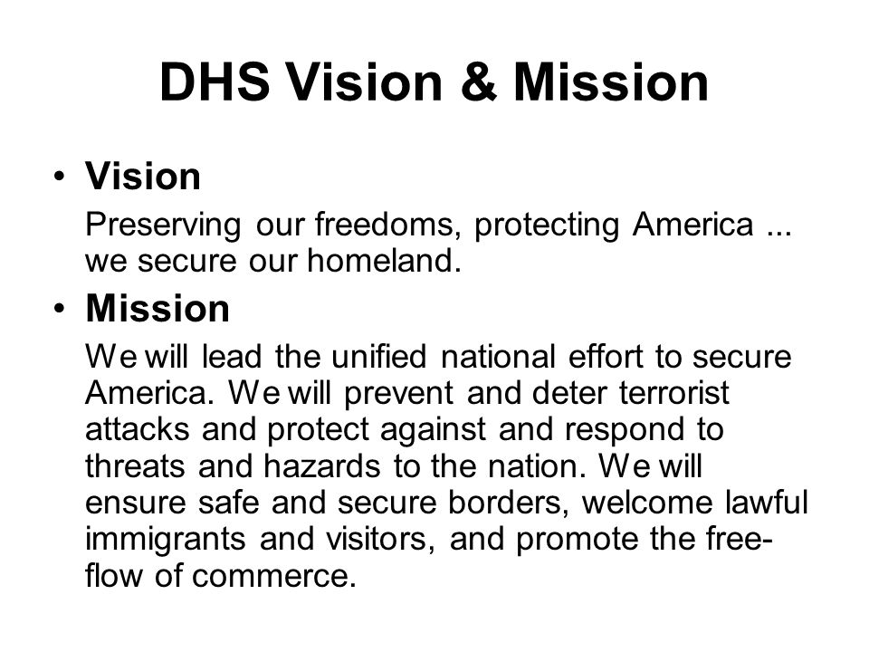 DHS Vision & Mission Vision Mission