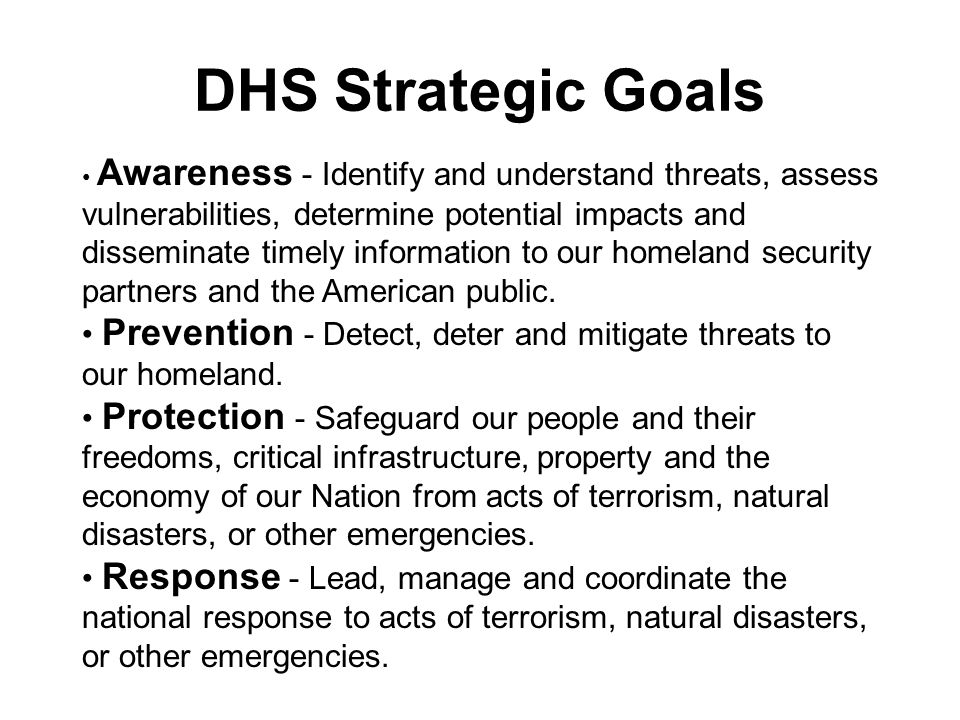 DHS Strategic Goals