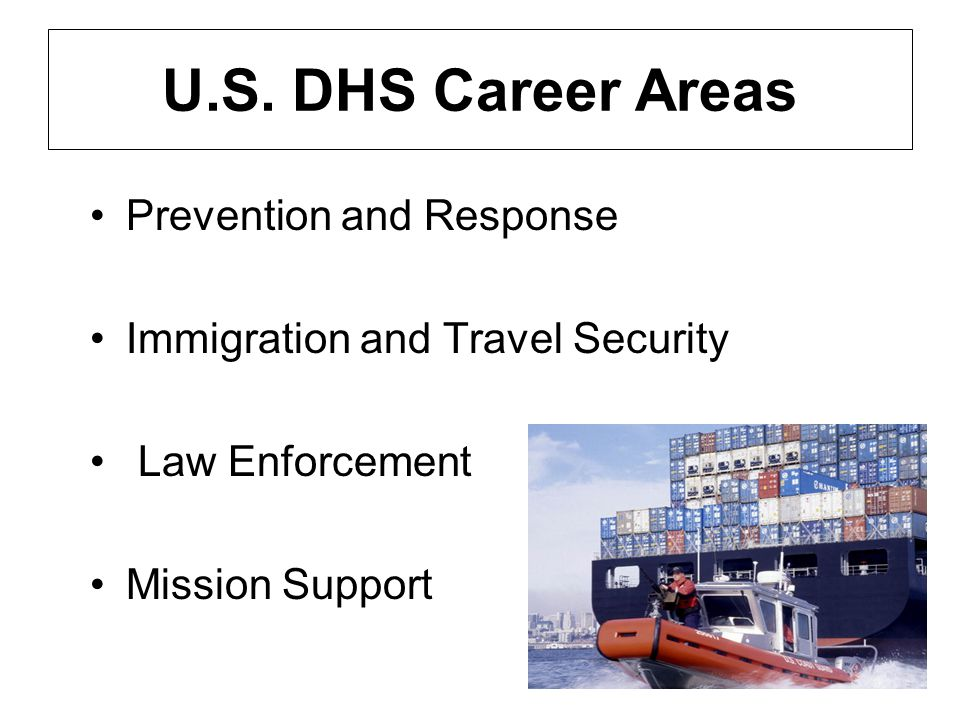 U.S. DHS Career Areas Prevention and Response