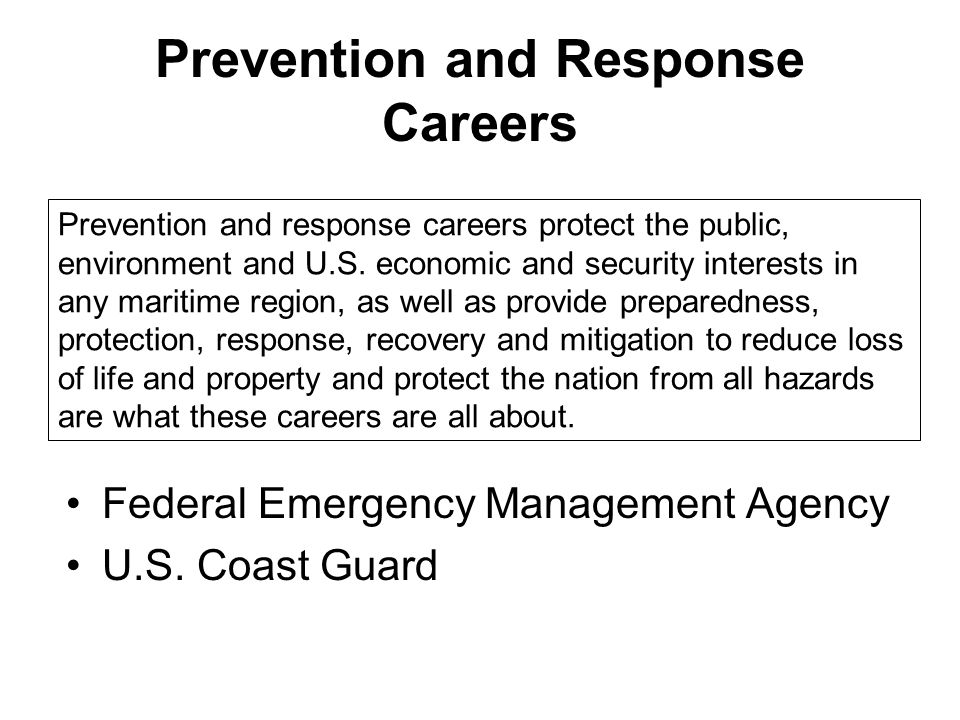 Prevention and Response Careers