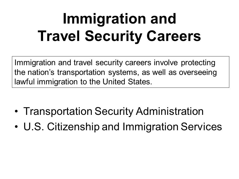 Immigration and Travel Security Careers