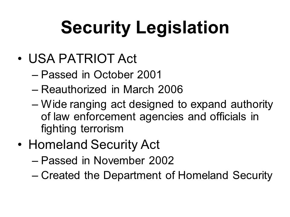 Security Legislation USA PATRIOT Act Homeland Security Act