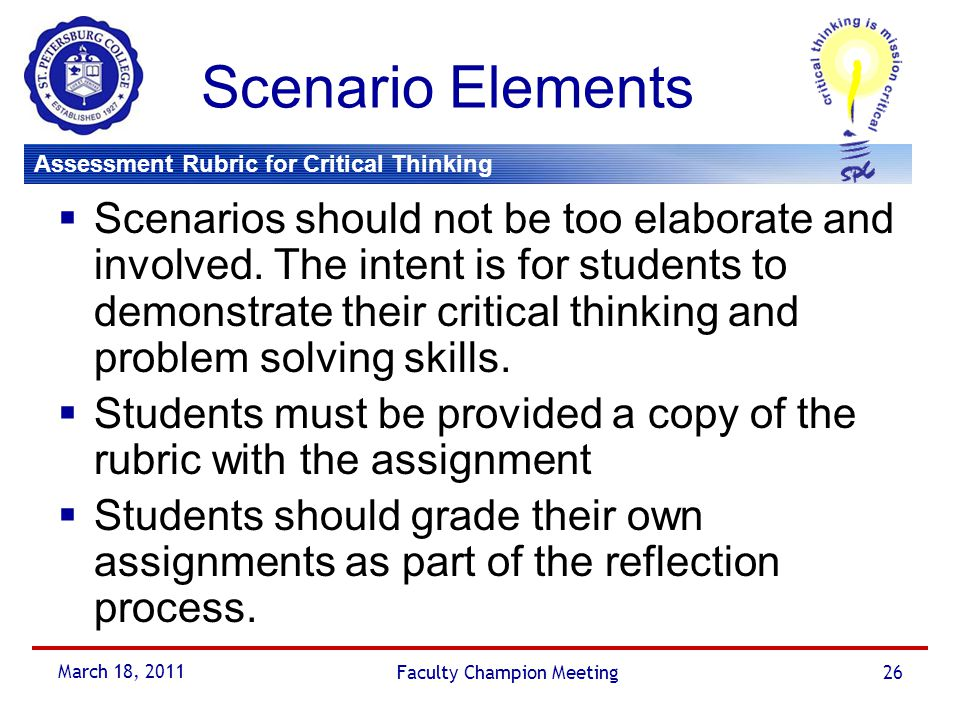 grading rubric critical thinking The organization, elements of critical review writing, grammar, usage, mechanics, and spelling of a written piece are scored in this rubric.