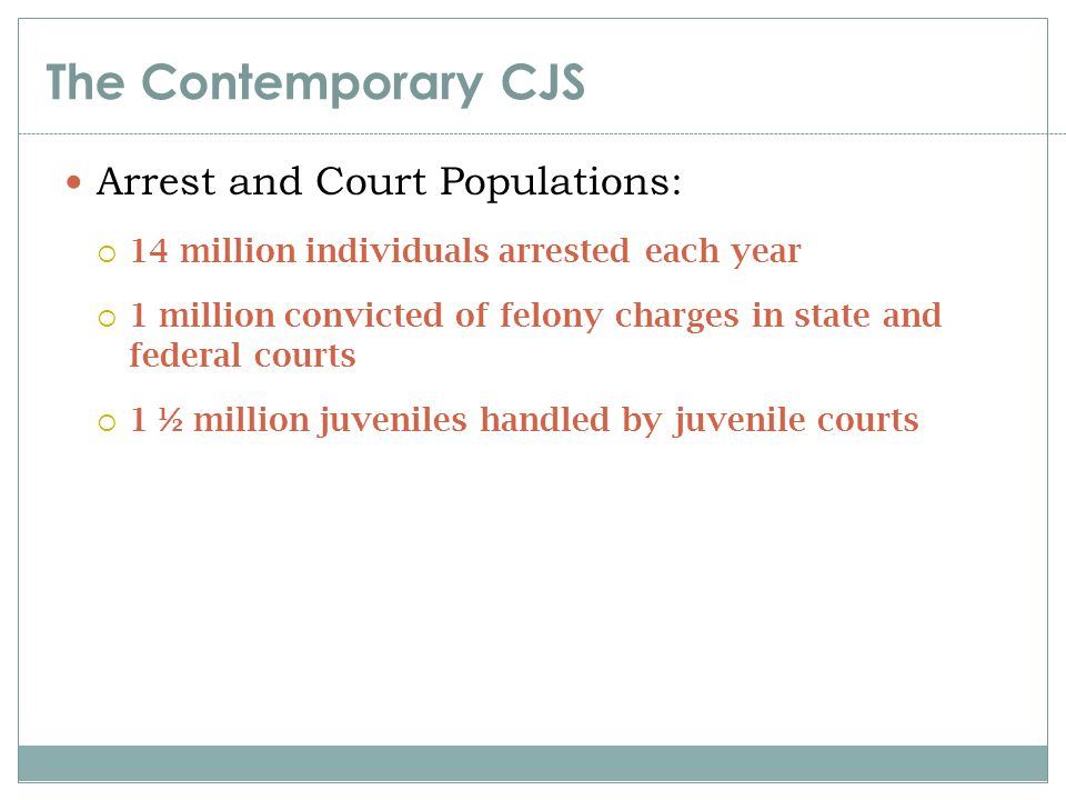 The Contemporary CJS Arrest and Court Populations: