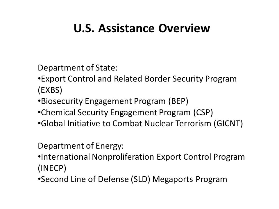 U.S. Assistance Overview