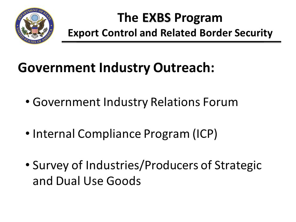 Export Control and Related Border Security