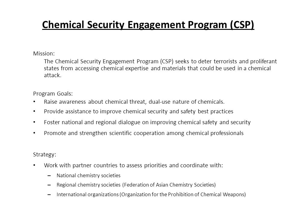 Chemical Security Engagement Program (CSP)