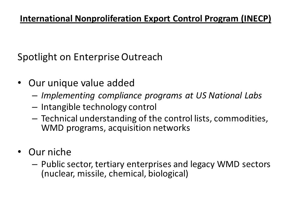 International Nonproliferation Export Control Program (INECP)