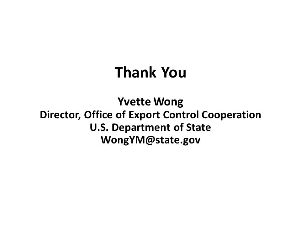 Director, Office of Export Control Cooperation