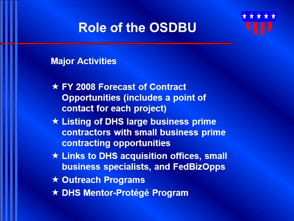 Role of the OSDBU Major Activities