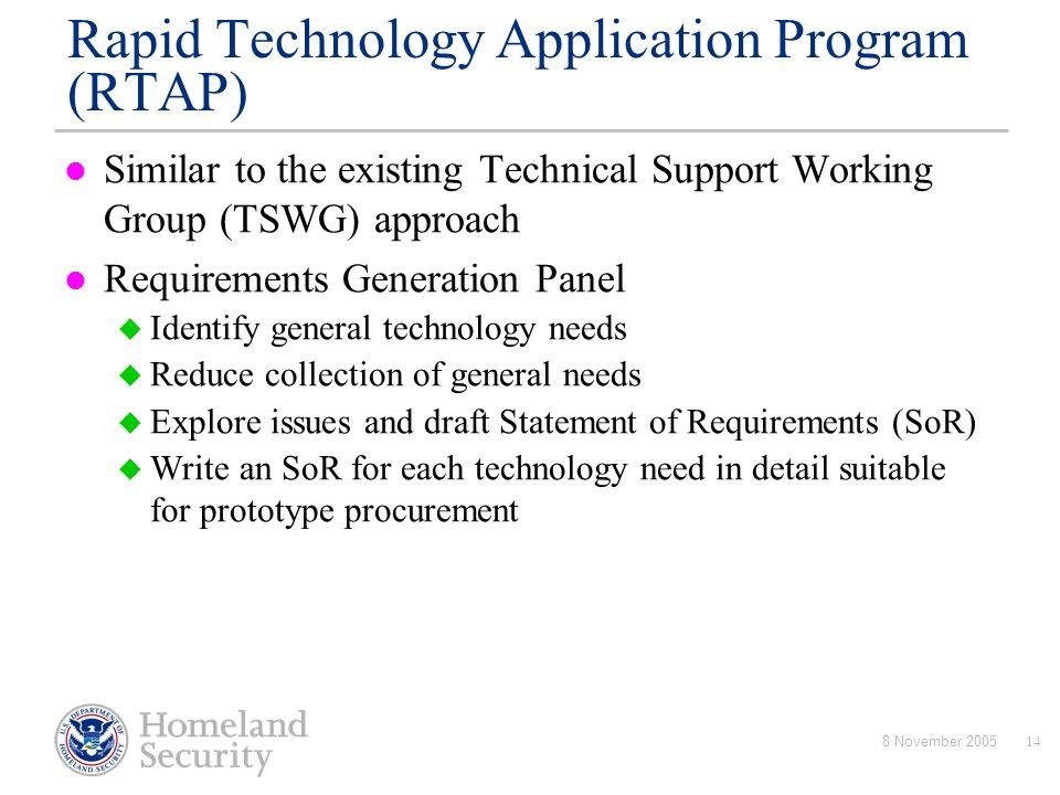 Rapid Technology Application Program (RTAP)