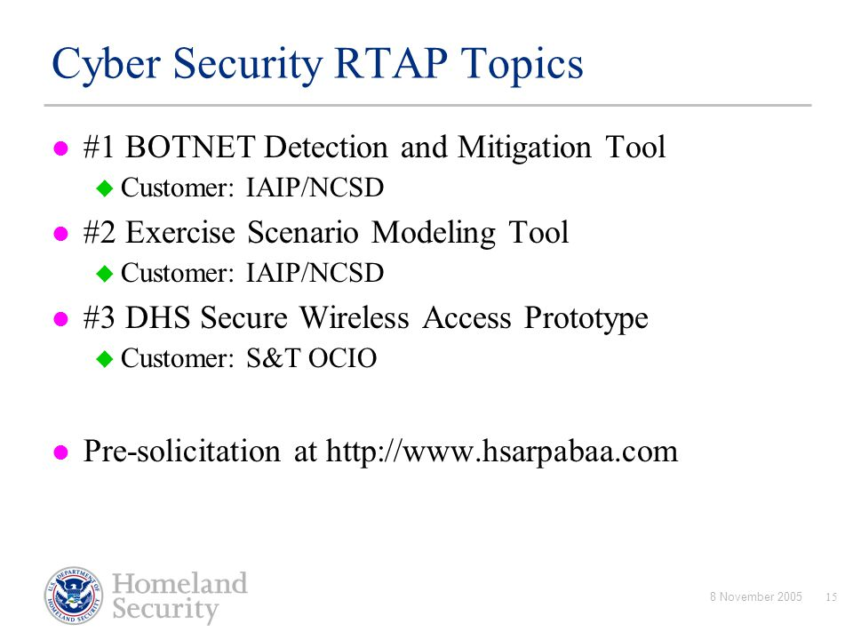 Cyber Security RTAP Topics