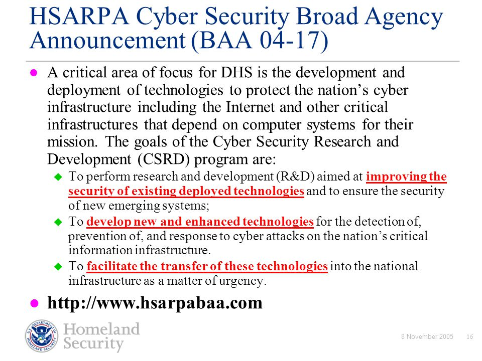 HSARPA Cyber Security Broad Agency Announcement (BAA 04-17)