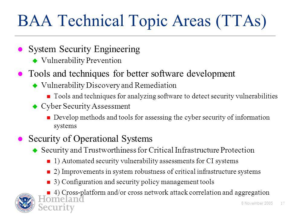 BAA Technical Topic Areas (TTAs)