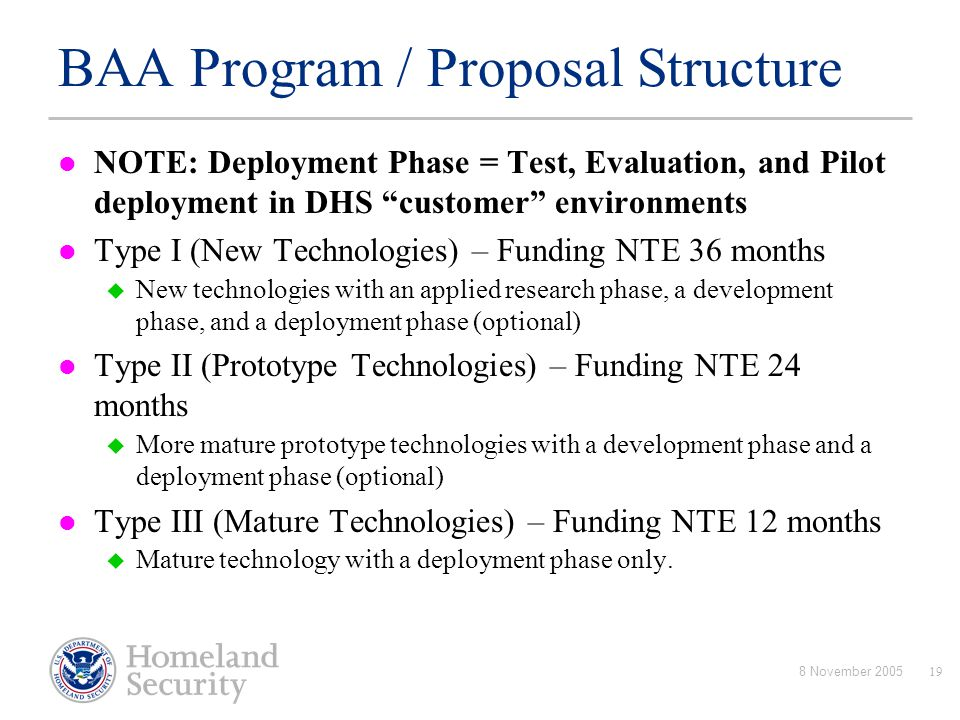BAA Program / Proposal Structure