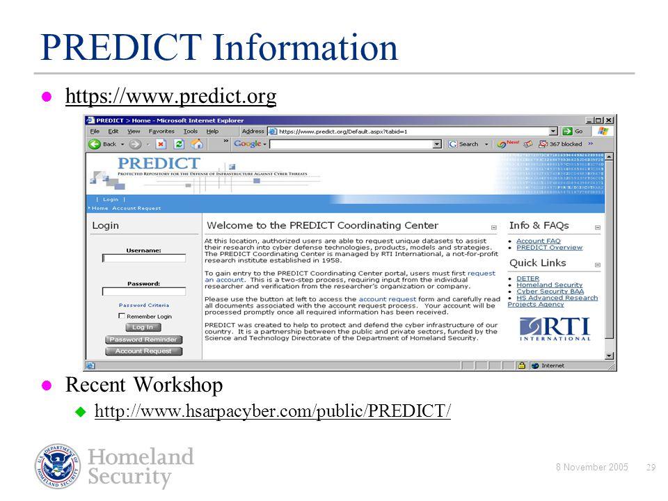 PREDICT Information : https://www.predict.org Recent Workshop