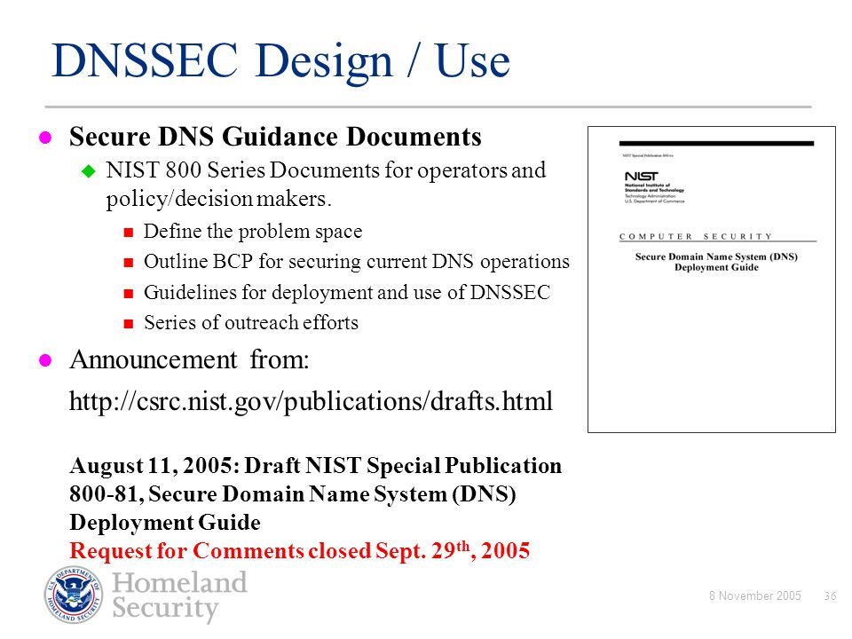 DNSSEC Design / Use Secure DNS Guidance Documents Announcement from: