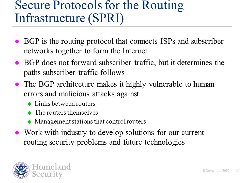 Secure Protocols for the Routing Infrastructure (SPRI)