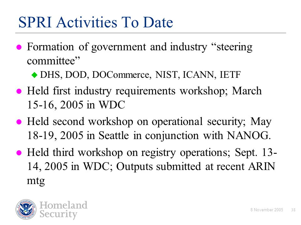 SPRI Activities To Date