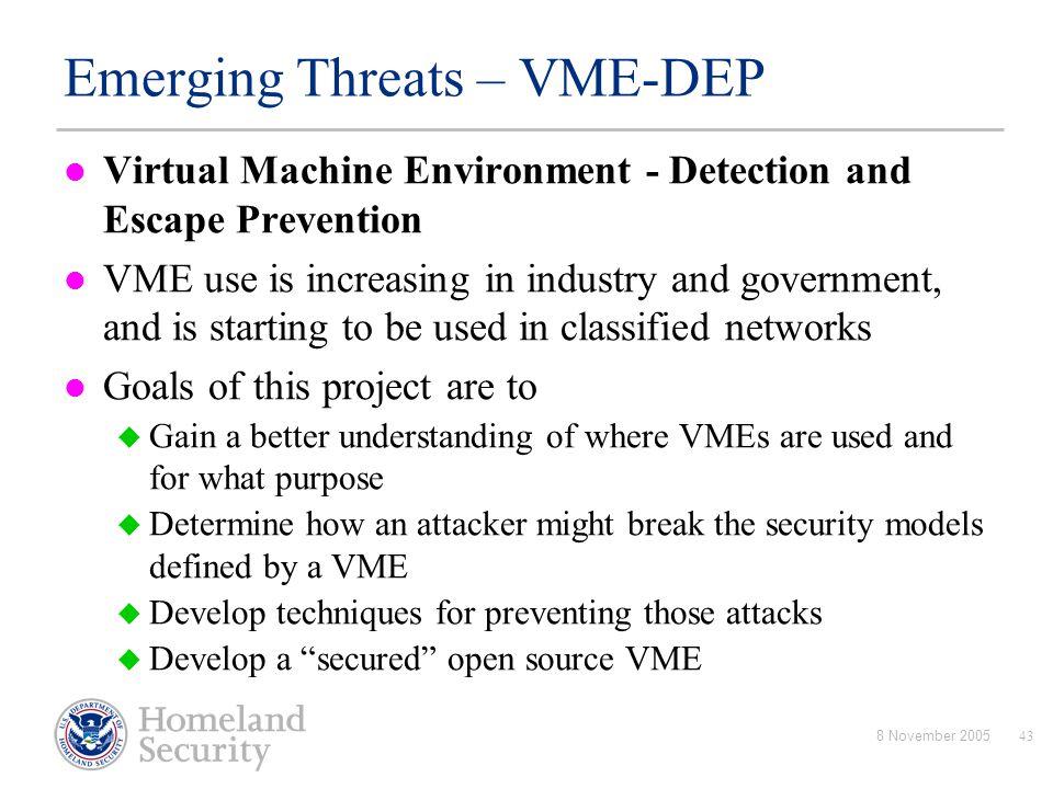 Emerging Threats – VME-DEP