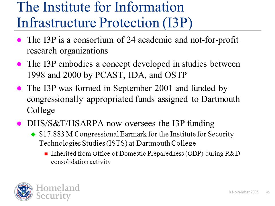 The Institute for Information Infrastructure Protection (I3P)