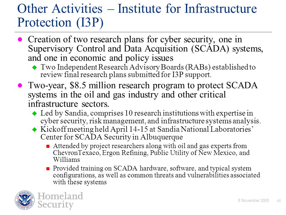Other Activities – Institute for Infrastructure Protection (I3P)