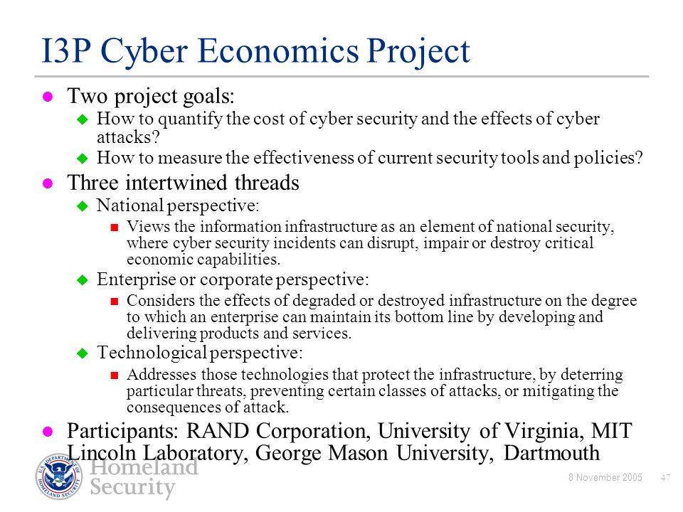 I3P Cyber Economics Project