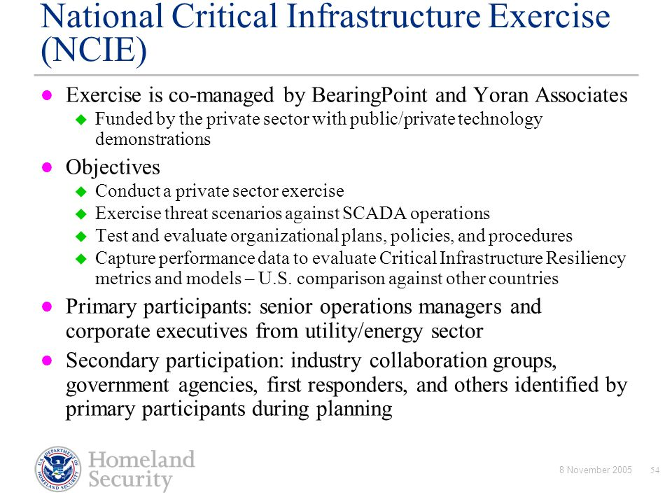 National Critical Infrastructure Exercise (NCIE)